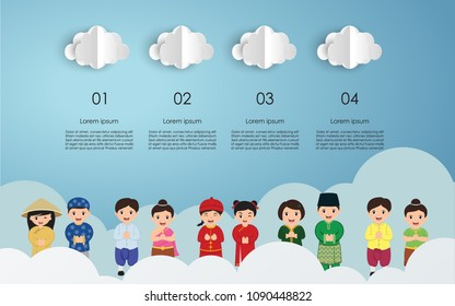 Kids Asian in traditional costume. vector illustration