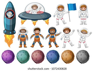 Kids in astronaut costume and different planets illustration