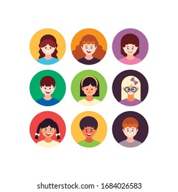Kids avatar collection. Pupils boys and girls. Vector illustrations Isolated on white background.