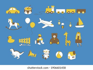 kids and baby toy icon collection  hand drawn