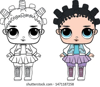 Kids baby toys girl carton art drawing vector item clothes dress coloring book. Lol surprise baby vector