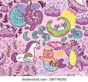 Kids background with fantastic animals. Yeti, Dragon, Unicorn, cat and mermaid, lochness, ufo and Godzilla in cartoon style. Vector seamless pattern on pink background