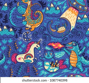 Kids background with fantastic animals. Yeti, Dragon, Unicorn, cat and mermaid, lochness, ufo and Godzilla in cartoon style. Vector seamless pattern on blue background