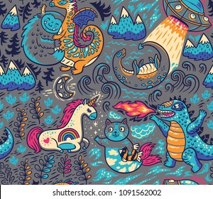Kids background with fantastic animals. Yeti, Dragon, Unicorn, cat and mermaid, lochness, ufo and Godzilla in cartoon style. Vector seamless pattern on gray background