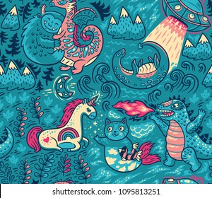 Kids background with fantastic animals. Yeti, Dragon, Unicorn, cat and mermaid, lochness, ufo and Godzilla in cartoon style. Vector seamless pattern on turquoise background