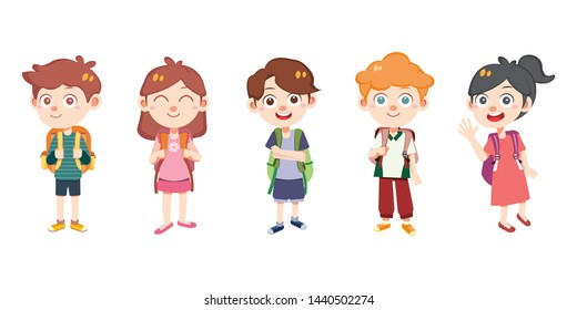 kids backpack go to school vector isolated