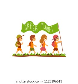 Kids with backpacks carrying flag with the inscription Green Planet, save the planet, ecology concept vector Illustration on a white background