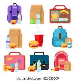 Kids bags vector and school lunch food boxes, flat icons