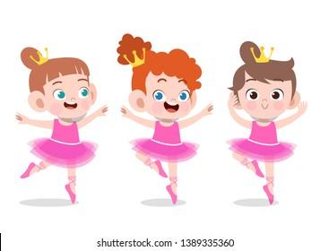 kids ballerina vector illustration isolated