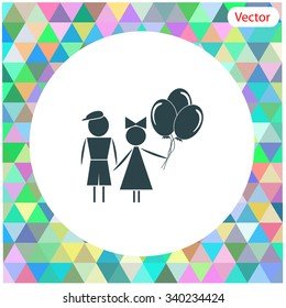 Kids with balloons vector icon