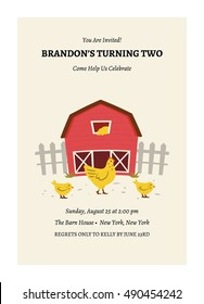 Kids Barnyard Birthday Invitation Card
