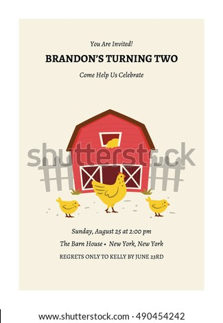 Kids Barnyard Birthday Invitation Card Stock Vector Royalty Free