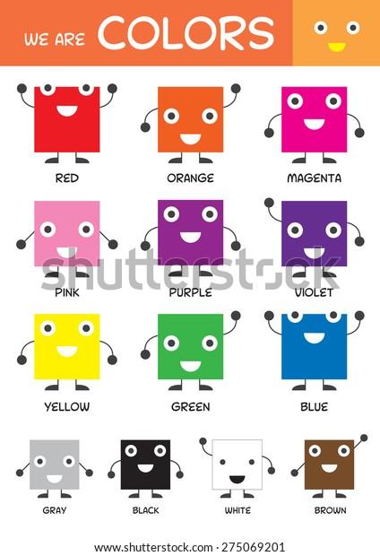 Kids Basic Colors Chart Kindergarten Preschool Stock ...