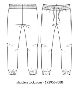 Kids Basic Fleece Sweat Pant fashion flat sketch template. Technical Fashion Illustration. Jogger CAD.