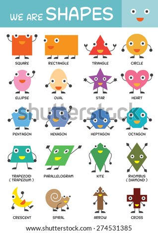 Kids Basic Shapes Chart Kindergarten Preschool Stock Vector Royalty