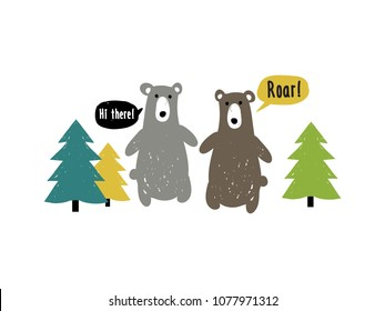 Kids bear and fir-tree forest t-shirt composition. Doodle scandinavian simple illustration design. Baby boy bear and nature graphic objects isolated on white background.