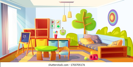 Kids bedroom, empty child room indoors interior with bed, montessori toys, wooden furniture, shelves and equipment for games and studying, blackboard and desk, cozy place Cartoon vector illustration