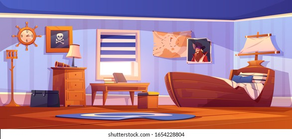 Kids bedroom interior in pirate thematic with ship bed, captain portrait and pirate flag on wall. Vector cartoon illustration of empty children room with spyglass, steering wheel clock and map