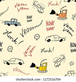 Kids bedsheet design - seamless car drawing texture.