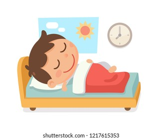 Kid's bedtime activity. A boy sleep in the bed and a clock on the wall in the morning. Vector and Illustration.