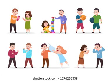 Kids behavior. Bad boys and girls confronting and bullying smaller children. Good friendly kids play together vector characters