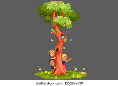 Kids behind the tree vector illustration