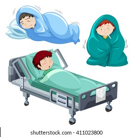 Boy Being Sick Hospital Bed Illustration Stock Vector Royalty Free