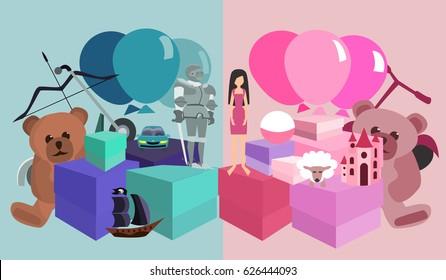 kids birthday gifts pile, girls vs boys
