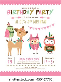 Birthday invitation images stock photos vectors shutterstock kids birthday invitation card with cute cartoon animal filmwisefo