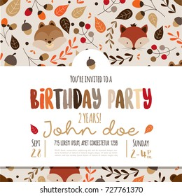 Kids birthday invitation card with cute cartoon forest animals