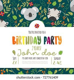 Kids birthday invitation card with cute cartoon jungle animals