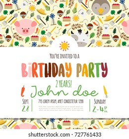 Kids birthday invitation card with cute cartoon farm animals