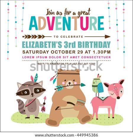 Kids Birthday Invitation Card With Cute Cartoon Animal