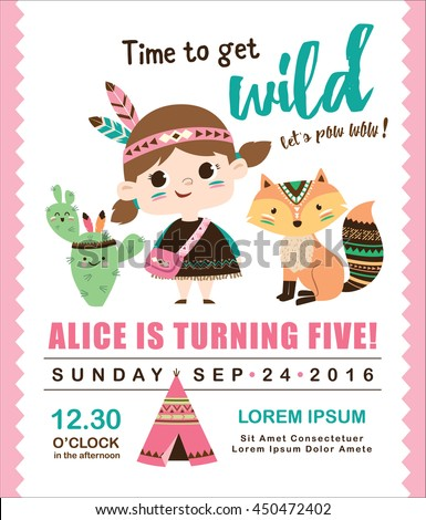 Kids Birthday Invitation Card With Cute Little Girl And Friends
