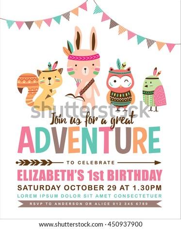 Kids Birthday Invitation Card Cute Cartoon Stock Vector Royalty