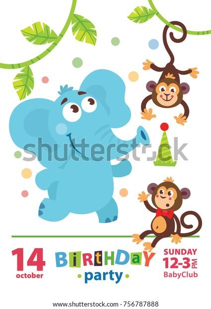 Kids Birthday Invitation Card Cute Cartoon Stock Vector