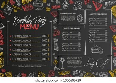 Kids birthday menu vector template, cute children birthday restaurant creative flyer, on black background. Chalk on blackboard hand drawn sketch style illustration Hand drawn vector illustration