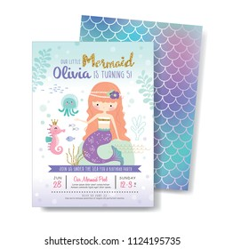 Kids birthday party front and back invitation card with cute little mermaid and marine life