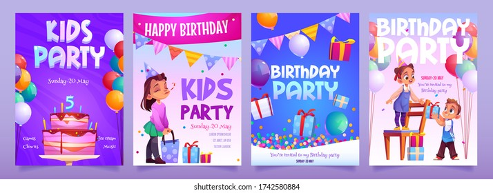 Kids birthday party invitation banners. Girl receive gift from boy. Little child in festive hat hold present with confetti and garlands around. Children event celebration flyer, Cartoon vector posters