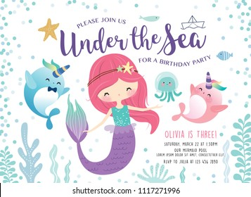 Kids birthday party invitation card with cute little mermaid and marine life cartoon