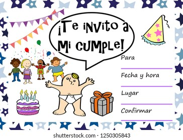 Kids Birthday Party Invitation Card With Sentence I Invite You To My