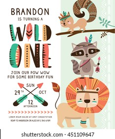 Kids birthday party invitation card with cartoon tribal animals