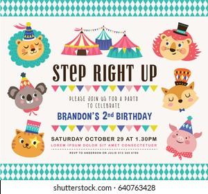 Kids birthday party invitation card circus stock vector royalty kids birthday party invitation card with circus theme filmwisefo