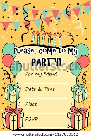 Kids birthday party invitation card sentence stock vector royalty kids birthday party invitation card with sentence please come to my party and filmwisefo