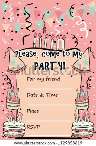 Kids Birthday Party Invitation Card With Sentence Please Come To My And Template For Fill Information Design In Pastel Colors Cakes Hats
