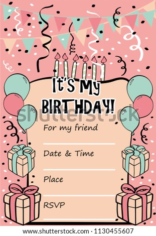 Kids Birthday Party Invitation Card With Sentence Its My And Template For Fill