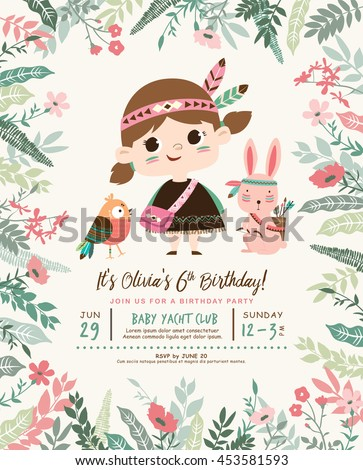 Kids Birthday Party Invitation Card Cute Stock Vector Royalty Free