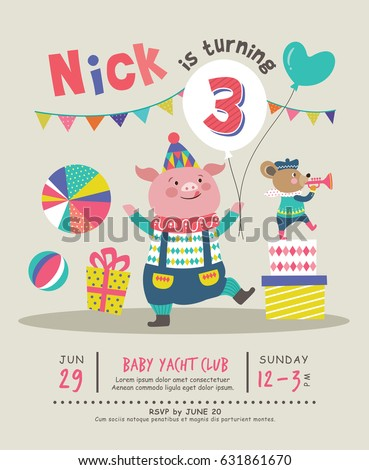 kids birthday party invitation card stock vector royalty free