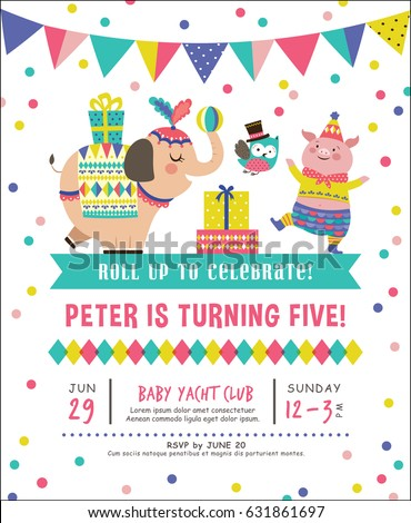 kids birthday party invitation card circus stock vector royalty