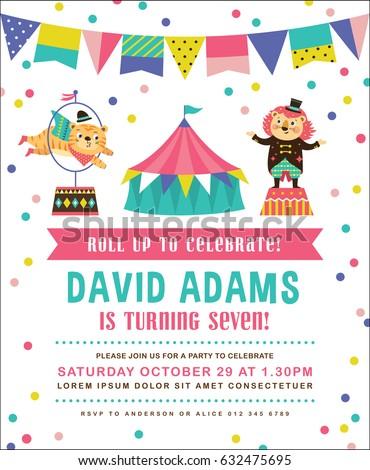 Kids Birthday Party Invitation Card Circus Vector De Stock Libre De